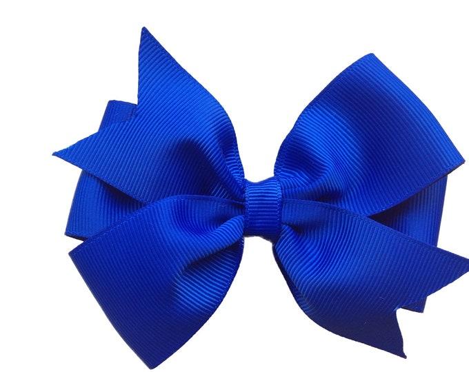 Royal blue hair bow - hair bows, hair clips, hair bows for girls, girls bows, toddler bows, baby bows, 4 inch hair bows