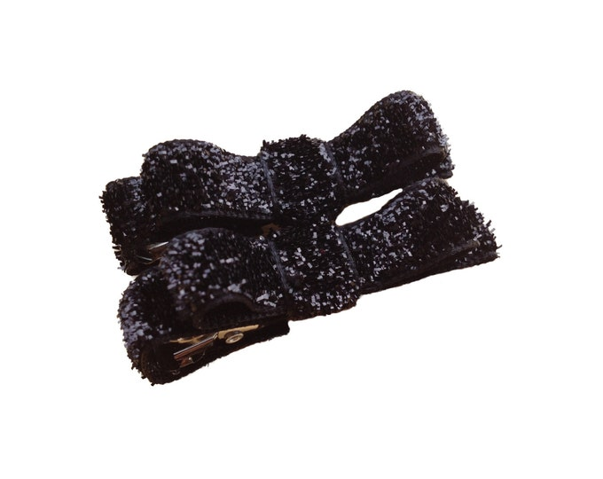 Black baby hair clips - hair bows, bows for girls, baby bows, baby hair bows, hair clips for girls