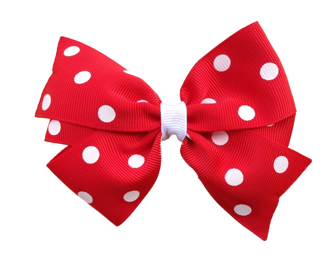 Red hair bow - hair bows, bows for girls, pigtail bows, girls bows, baby bows, toddler bows, minnie mouse bows