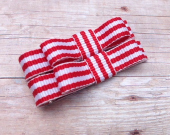 Red striped baby hair clips - red bows, hair bows, bows for girls, baby bows, toddler hair bows
