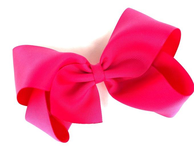 Large hair bow - 6 inch hair bows, hot pink hair bow, cheer bows, big hair bows, hair bows for girls, toddler hair bows