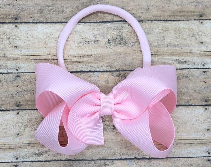 Light pink baby headband - baby headband bows, nylon headband, baby girl headband, newborn headband, baby bows, baby hair bows, bow