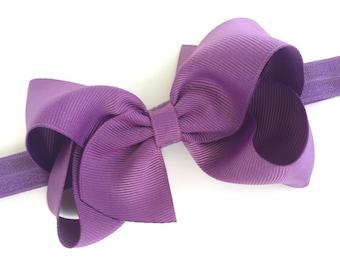 Purple baby headband - baby headbands, baby headband bows, baby girl headbands, newborn headbands, baby bows, baby hair bows, hair bows, bow