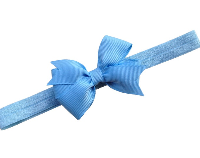 Light blue baby headband - baby headband bows, baby girl headbands, baby bows, baby bow headbands, newborn headbands