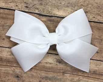 White hair bow - 5 inch hair bows, hair bows, bows for girls, big hair bows, toddler hair bows