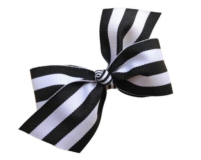 Black and white hair bow - hair bows, bows for girls, hair clips, toddler hair bows, 4 inch hair bows