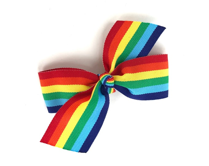 Rainbow hair bow - rainbow bow, hair bows, bows for girls, girls hair bows, baby bows, toddler hair bows