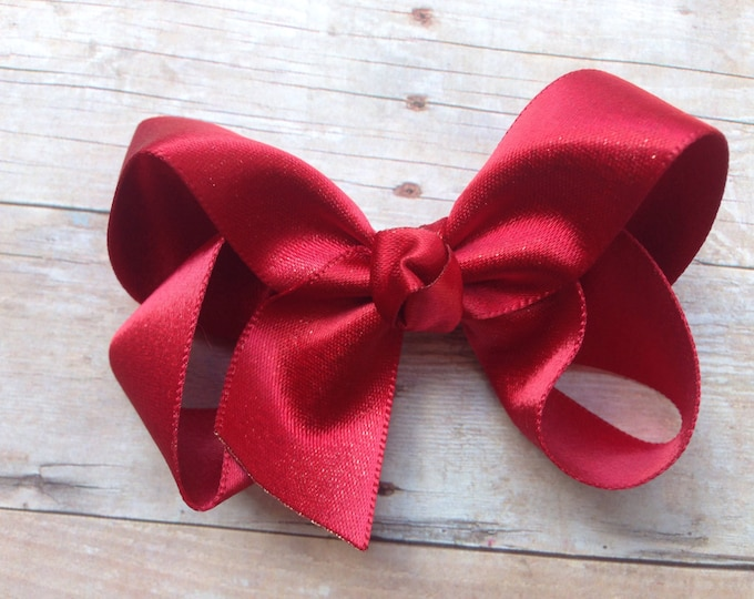 Red gold hair bow - hair bows, bows for girls, baby bows, girls hair bows, hairbows, toddler bows