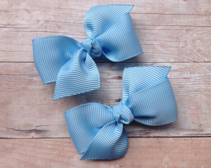 Light blue pigtail bows, hair bows, bows, hair clips, baby bows, baby hair clips, hair bows for girls, toddler hair bows, girls hair bows