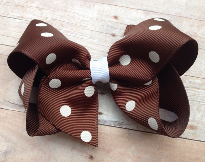 Brown and white hair bow - hair bows for girls, toddler hair bow, boutique hair bows, 4 inch hair bows