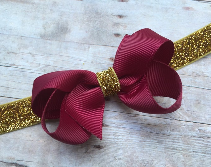 Baby headband - burgundy and gold baby headband, baby headband bows, baby girl headbands, newborn headbands, baby bows