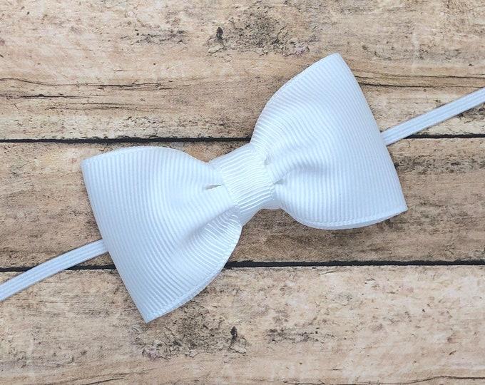 White baby headband - baby girl headband, baby headband bows, baby bows, newborn headband, baby bow headband, baby girl