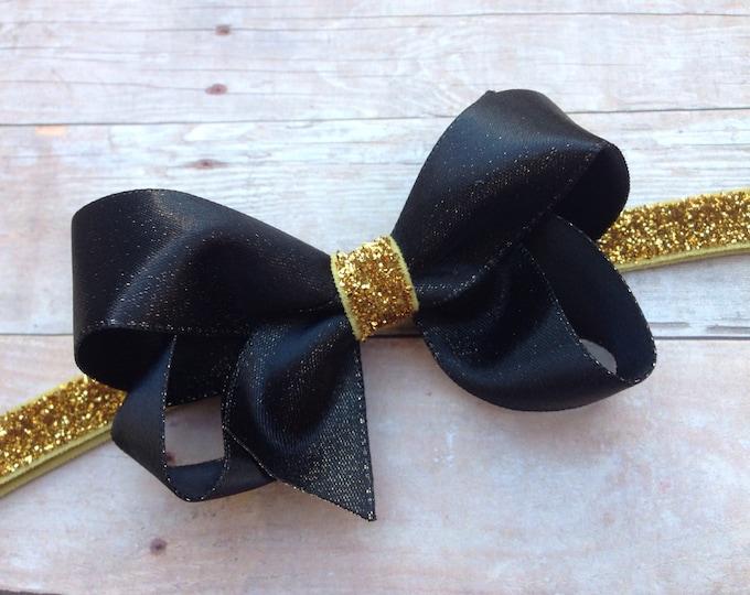 Black and gold baby headband - baby headband bows, baby girl headbands, baby bows, bow headbands