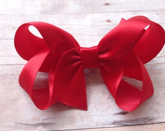 Red satin hair bow - satin bows, hair bows, hair bows for girls, bows, baby bows, hair clips, toddler bows, satin hair bows, boutique bows