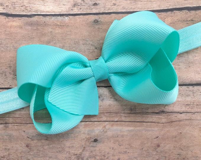 Aqua blue baby headband - baby headband bows, newborn headbands, baby girls headbands, headbands baby, baby bows, hair bows