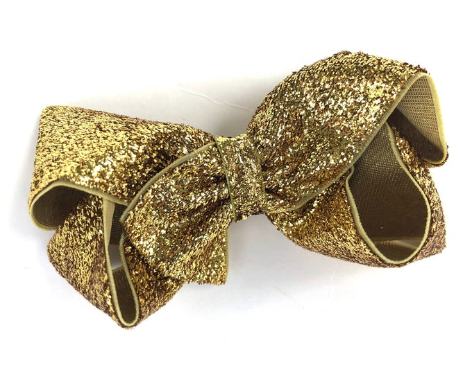Gold glitter hair bow - hair bows, bows for girls, baby bows, toddler hair bows, 4 inch bows, gold bows