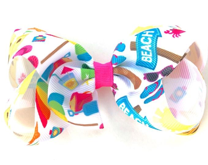 Girls Hair bow - beach hair bows, girls bows, toddler hair bows, 4 inch hair bows, big bows