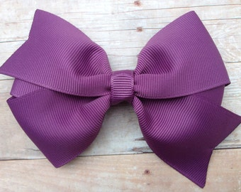 Amethyst hair bow - purple hair bows, bows for girls, toddler hair bows, pinwheel bows, 4 inch hair bows
