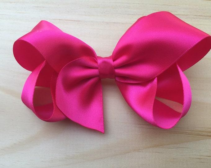 Hot pink satin hair bow - satin hair bows, hair bows, satin bows, hair bows for girls, hair clips, baby bows, toddler bows