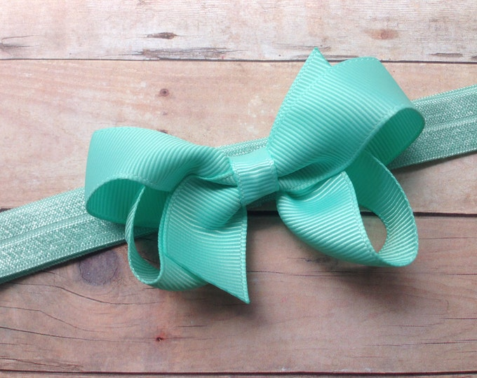 Aqua baby headband - baby headband, baby headbands, baby girl headband, baby headband bows, newborn headband, baby bow headband, baby bows