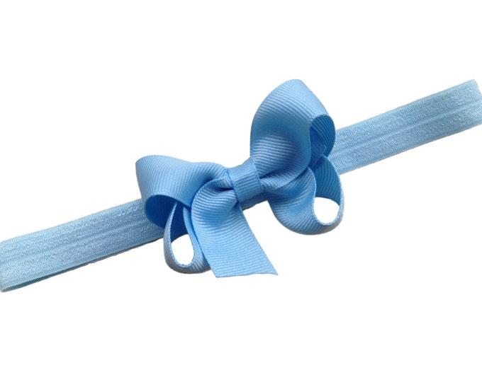 Light blue baby headband - baby headband bows, baby girl headband, baby bows, newborn headband, hair bows, headbands baby