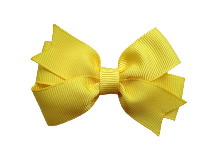 Yellow hair bow - hair bows, bows for girls, baby bows, 3 inch hair bows, toddler hair bows, pigtail bows