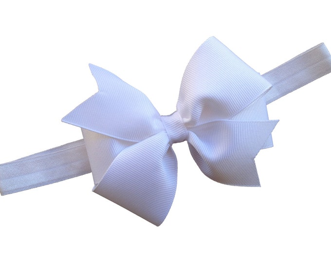 White baby headband - baby girl headband, baby headband bows, newborn headband, baby bows, baby bow headband