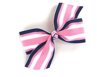 Pink & navy striped hair bow - hair bows, bows for girls, girls hair bows, toddler hair bows, boutique hair bows