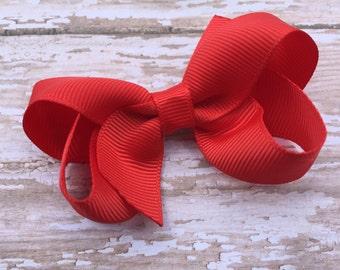Poppy red hair bow - hair bows, hair bows for girls, baby bows, girls hair bows, toddler hair bows, boutique bows, pigtail bows