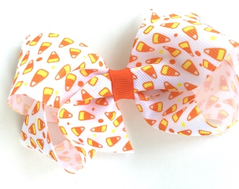 Candy corn hair bow - Halloween hair bow, hair bows, girls hair bows, toddler hair bows, boutique hair bows