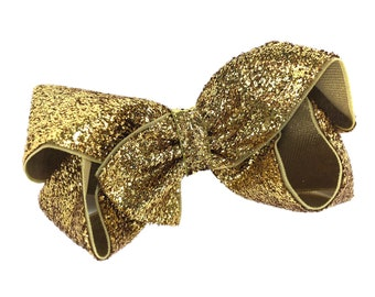 Gold glitter hair bow - hair bows, bows for girls, baby bows, toddler hair bows, 4 inch bows, gold bows