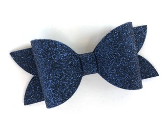 Navy blue glitter hair bow - hair bows, bows for girls, baby bows, toddler hair bows, girls bows