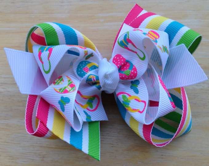Flip flop hair bow - hair bows for girls, baby bows, toddler hair bows, big hair bows, boutique bows