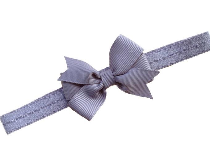 Gray baby headband - baby headband bows, baby girl headbands, baby bows, newborn headbands, baby bow headband