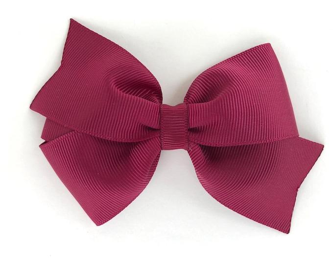 Burgundy hair bow - hair bows, hair bows for girls, toddler bows, baby bows, pigtail bows, hair clips, 4 inch hair bows