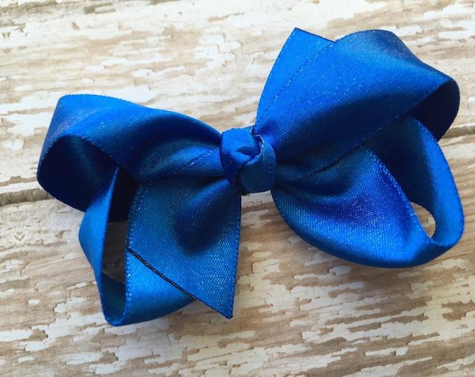 Blue silver hair bow - hair bows, satin bows, bows for girls, baby bows, girls bows, toddler bows, 3 inch hair bows