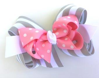Pink & gray hair bow - bows for girls, hair bows, girls bows, toddler hair bows, big hair bows, boutique bows