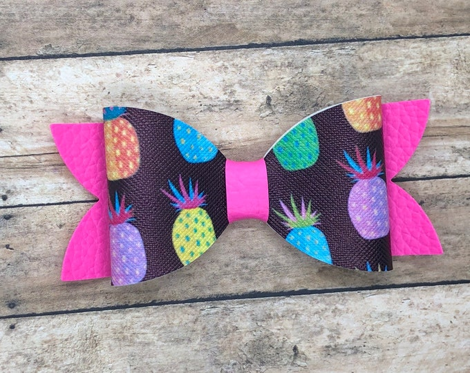 Neon pineapple hair bow - hair bows, bows for girls, baby bows, toddler hair bows, girls bows, 4 inch hair bows, faux leather bows