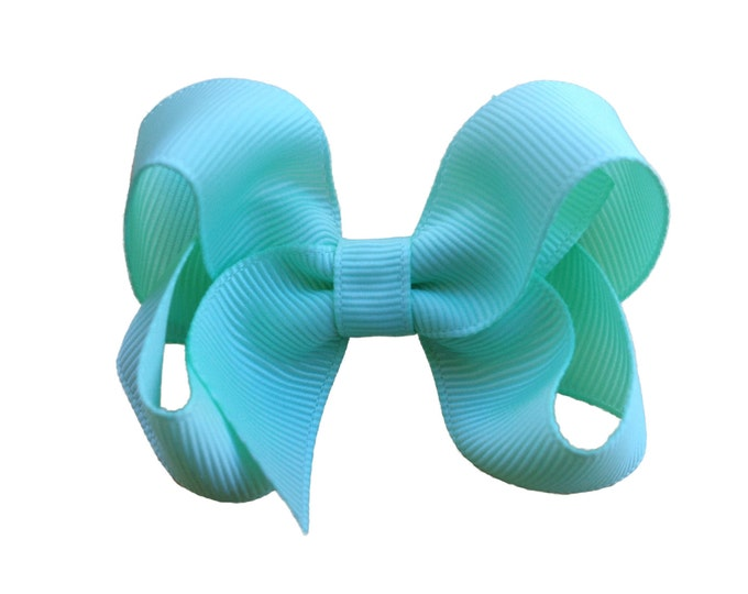 Aqua blue hair bow - hair bows for girls, baby bows, toddler hair bow, 3 inch hair bows