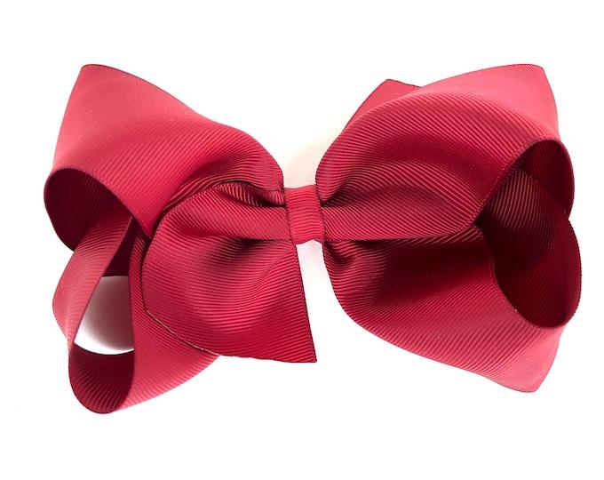 Extra large hair bow - 6 inch hair bows, cheer bows, maroon hair bow, hair bows, bows for girls, big hair bow, girls bows