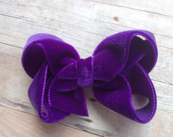 Purple velvet hair bow - hair bows, velvet bows, bows for girls, baby bows, toddler bows, 3 inch hair bows