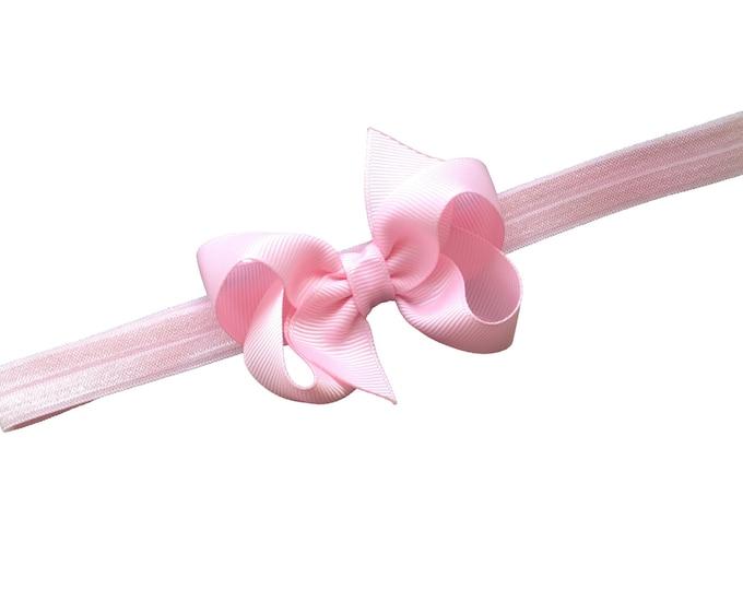 Light pink baby headband - baby headbands, baby headband bows, baby girl headbands, baby bows, baby bow headbands, newborn headbands, bows