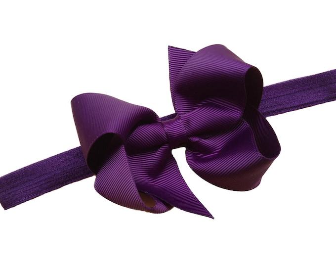 Dark purple baby headband - baby headband bows, baby girl headband, newborn headband, baby bows, baby bow headband