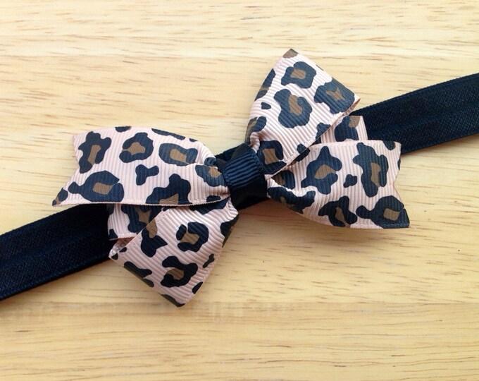 Leopard print baby headband - baby headband bows, baby girl headband, newborn headband, baby bows, baby bow headband