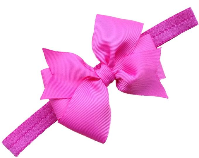 Pink baby headband - baby girl headbands, baby headband bows, newborn headband, baby bow headband,  baby bows
