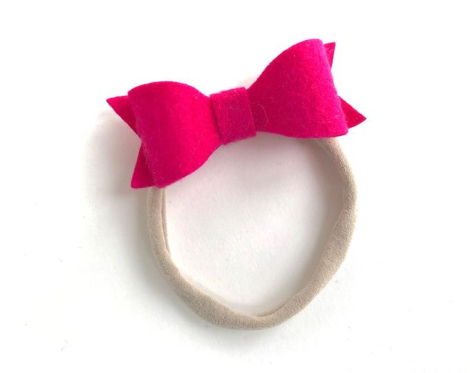 Pink baby headband - nylon headbands, baby bows, baby headband bows, baby girl headbands, felt bow, baby hair bows