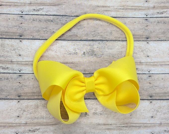 Yellow baby headband - baby girl headband, nylon headbands, baby headband bows, newborn headband, baby bows, baby hair bows