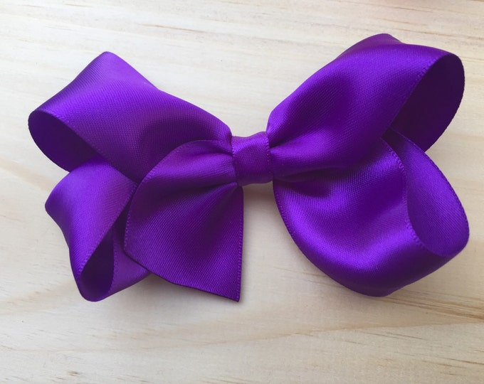 Satin hair bow - purple bows, hair bows, bows for girls, toddler hair bows, satin bows