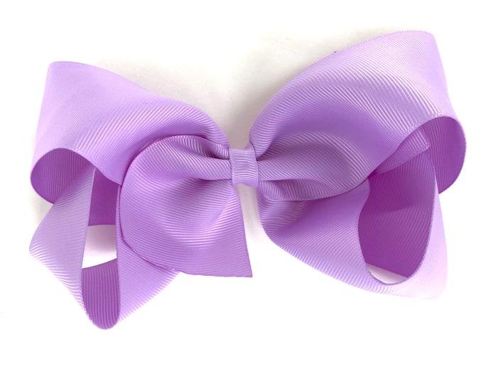 Large hair bow - 6 inch hair bows, light purple hair bow, cheer bows, big hair bows, hair bows for girls