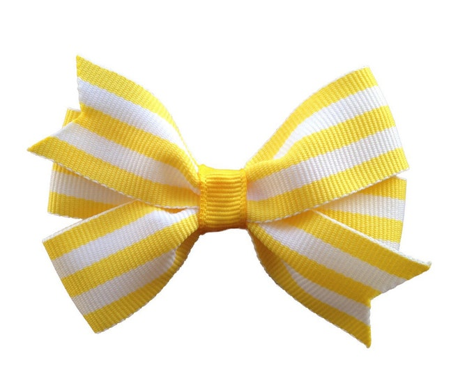 Yellow and white hair bow - hair bows, girls bows, baby bows, toddler hair bows, 3 inch hair bows